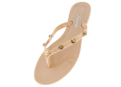 Jennie42 Beige Skull Studded Jelly Sandal - Wholesale Fashion Shoes