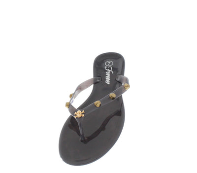 Jennie42 Black Skull Studded Jelly Sandal - Wholesale Fashion Shoes