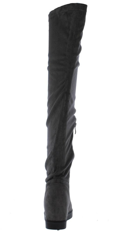 Jennings010k Grey Over The Knee Hidden Wedge Boot - Wholesale Fashion Shoes