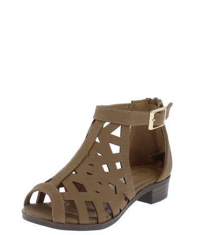Jerry82k Tan Caged Peep Toe Kids Low Heel - Wholesale Fashion Shoes