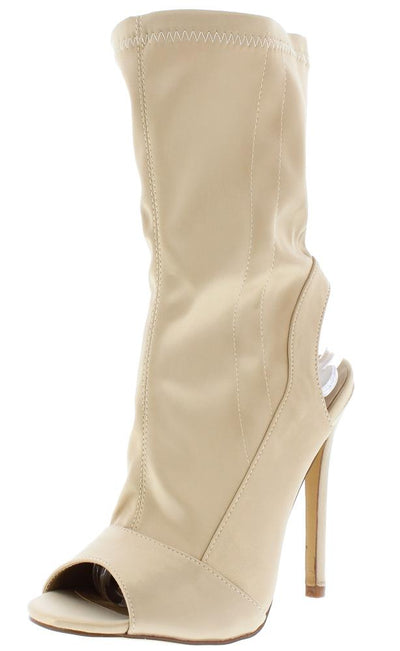 Ruby103 Nude Peep Toe Rear Cutout Sock Boot - Wholesale Fashion Shoes