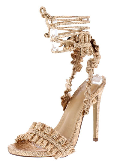 Camren162 Champagne Texture Ruffle Open Toe Ankle Wrap Heel - Wholesale Fashion Shoes