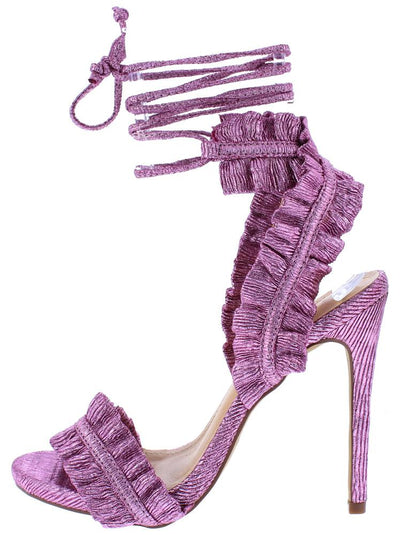 Camren162 Pink Texture Ruffle Open Toe Ankle Wrap Heel - Wholesale Fashion Shoes
