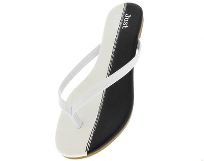 Jesse White Color Block Flat Sandal - Wholesale Fashion Shoes