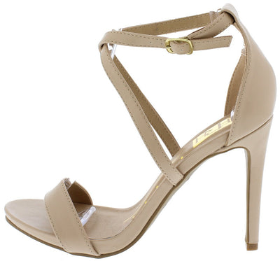 Jillian01 Nude Open Toe Cross Strap Stiletto Heel - Wholesale Fashion Shoes
