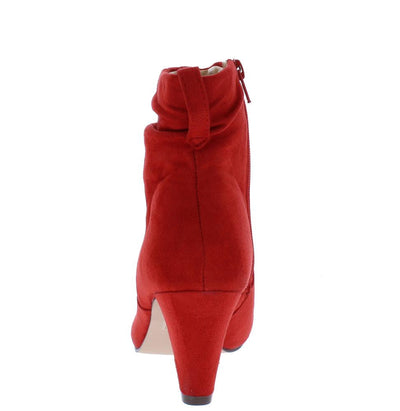 Sadie050 Red Slouch Almond Toe Ankle Boot - Wholesale Fashion Shoes