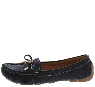 Jimmi05 Black Stitched Top Bow Slide On Boat Shoe Flat - Wholesale Fashion Shoes