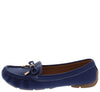 Jimmi05 Blue Stitched Top Bow Slide On Boat Shoe Flat - Wholesale Fashion Shoes