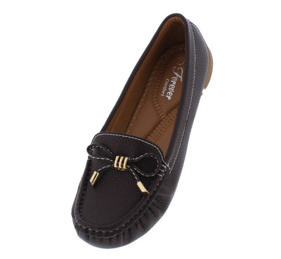 Jimmi05 Brown Stitched Top Bow Slide On Boat Shoe Flat - Wholesale Fashion Shoes