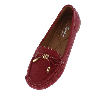 Jimmi05 Red Stitched Top Bow Slide On Boat Shoe Flat - Wholesale Fashion Shoes