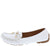 Jimmi05 White Stitched Top Bow Slide On Boat Shoe Flat