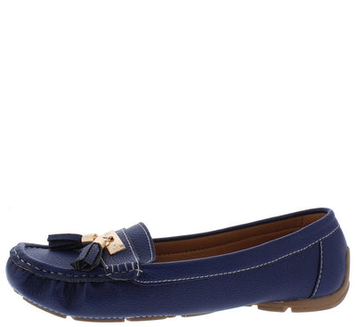 Jimmi32 Blue Top Stitch Dual Tassel Slide On Loafer Flat - Wholesale Fashion Shoes