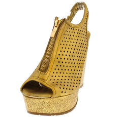 JIMMY3 GOLD PERFORATED ZIPPER PEEP TOE WEDGE - Wholesale Fashion Shoes