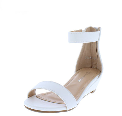 Joana5k White Open Toe Ankle Strap Kids Low Wedge - Wholesale Fashion Shoes
