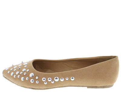 Joanna01 Beige Studded Pointed Toe Flat - Wholesale Fashion Shoes