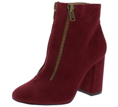 Aubrey025 Cranberry Front Zip Almond Toe Ankle Boot - Wholesale Fashion Shoes