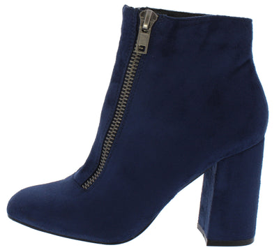 Aubrey025 Navy Front Zip Almond Toe Ankle Boot - Wholesale Fashion Shoes