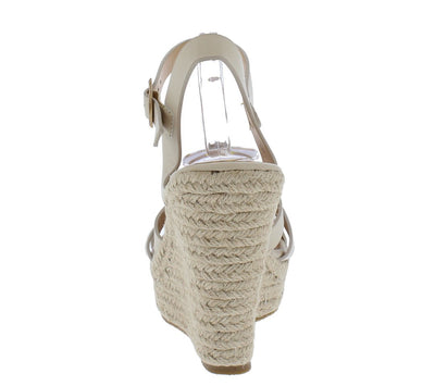 Jocelyn Nude Woven Strappy Open Toe Espadrille Wedge - Wholesale Fashion Shoes