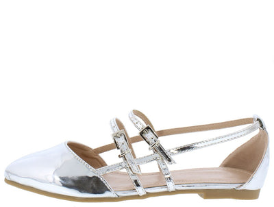 Cora059 Silver Patent Pointed Toe Caged Multi Buckle Flat - Wholesale Fashion Shoes