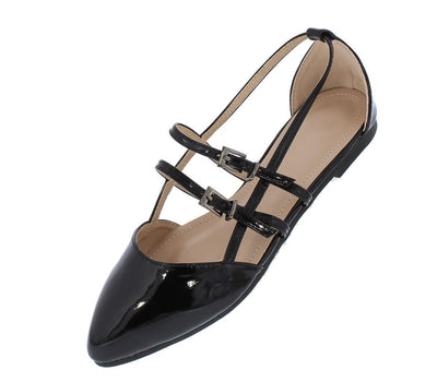 Cora059 Black Patent Pointed Toe Caged Multi Buckle Flat - Wholesale Fashion Shoes