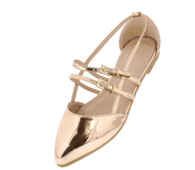 Cora059 Rose Gold Patent Pointed Toe Caged Multi Buckle Flat - Wholesale Fashion Shoes