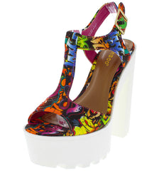 JOHNNY05X FUCHSIA GRAFFITI WHITE LUG SOLE HEEL - Wholesale Fashion Shoes