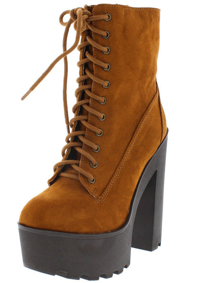 Johnny08 Chestnut Suede Almond Toe Lug Sole Platform Chunky Heel Boot - Wholesale Fashion Shoes