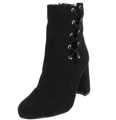 Jolie Black Crisscross Chunky Heel Ankle Boot - Wholesale Fashion Shoes