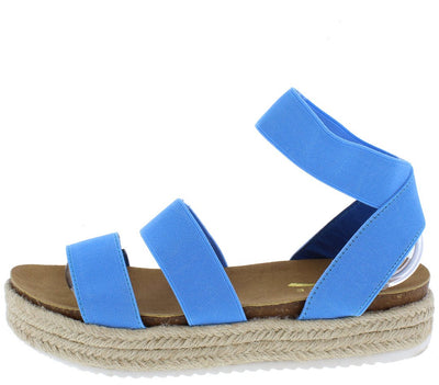 Jolin1 Blue Open Toe Slingback Ankle Strap Braided Sandal - Wholesale Fashion Shoes
