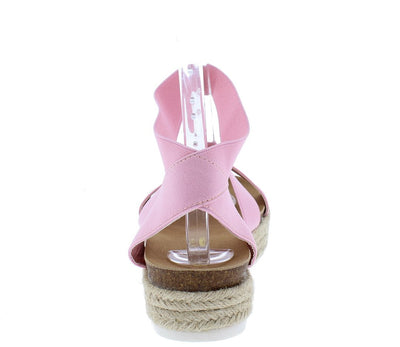 Jolin1 Pink Open Toe Slingback Ankle Strap Braided Sandal - Wholesale Fashion Shoes