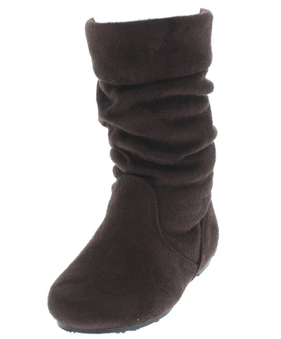 JOLYN9K BROWN ROUND TOE KIDS BOOT - Wholesale Fashion Shoes