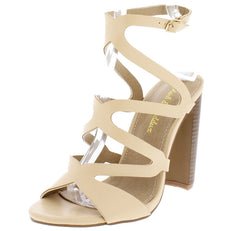 JONAS09 NUDE LASER CUT STRAPPY STACKED HEEL - Wholesale Fashion Shoes