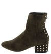 Jorie01 Olive Studded Chunky Heel Ankle Boot - Wholesale Fashion Shoes