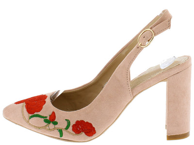 Joselyn1 Nude Red Embroidered Flower Pointed Toe Sling Back Heel - Wholesale Fashion Shoes