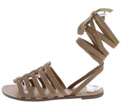 Susie173 Taupe Caged Strappy Open Toe Ankle Wrap Sandal - Wholesale Fashion Shoes