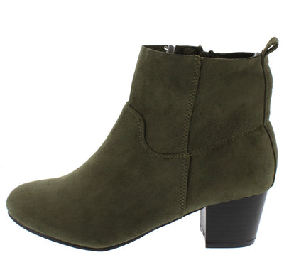 Joshua2 Olive Green Stacked Chunky Heel Ankle Boot - Wholesale Fashion Shoes