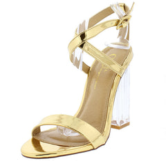 JOSIE GOLD STRAPPY WOMEN'S LUCITE HEEL - Wholesale Fashion Shoes