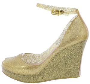 89d9119bfa00 Jovial01 Gold Peep Toe Ankle Strap Two Tone Heel Jelly Wedges - Wholesale  Fashion Shoes