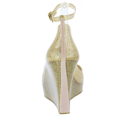 Jovial01 Gold Peep Toe Ankle Strap Two Tone Heel Jelly Wedges - Wholesale Fashion Shoes