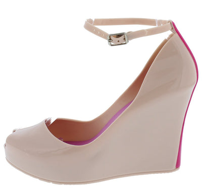 Jovial01 Nude Peep Toe Ankle Strap Two Tone Heel Jelly Wedges - Wholesale Fashion Shoes