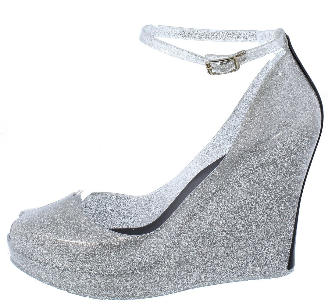 24ac5712a3d Jovial01 Silver Peep Toe Ankle Strap Two Tone Heel Jelly Wedges - Wholesale  Fashion Shoes