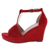 Joy45 Red Women's Wedge - Wholesale Fashion Shoes