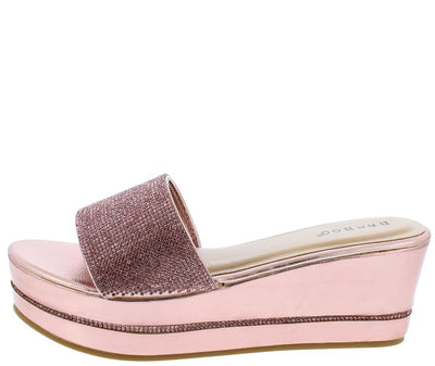 Joyas01 Pink Sparkle Open Toe Mule Platform Wedge - Wholesale Fashion Shoes