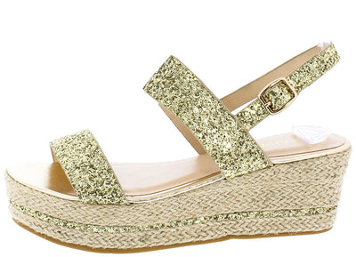 Joyas02 Gold Glitter Open Toe Dual Strap Slingback Wedge - Wholesale Fashion Shoes