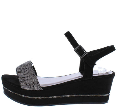 Joyas03S Black Mesh Open Toe Slingback Platform Wedge - Wholesale Fashion Shoes