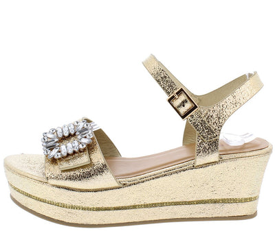 Joyas06m Gold Rhinestone Buckle Open Toe Metallic Wedge - Wholesale Fashion Shoes