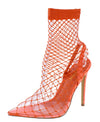 Juan Orange Fishnet Pointed Toe Slingback Pull On Heel - Wholesale Fashion Shoes