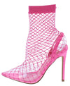 Juan Pink Fishnet Pointed Toe Slingback Pull On Heel - Wholesale Fashion Shoes