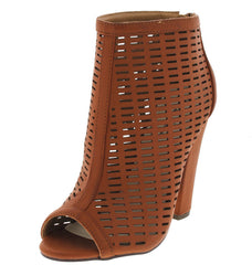 ADLEY COGNAC CUT-OUT PEEP-TOE HEEL - Wholesale Fashion Shoes