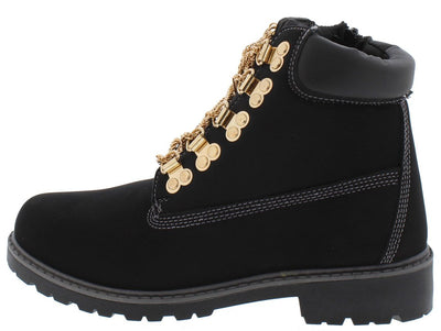Judy Black Gold Chain Lace Up Lug Sole Boot - Wholesale Fashion Shoes